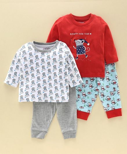 Bumzee Full Sleeves Animal Print Pack Of 2 Tee With Pack Of 2 Pajamas - Red Grey