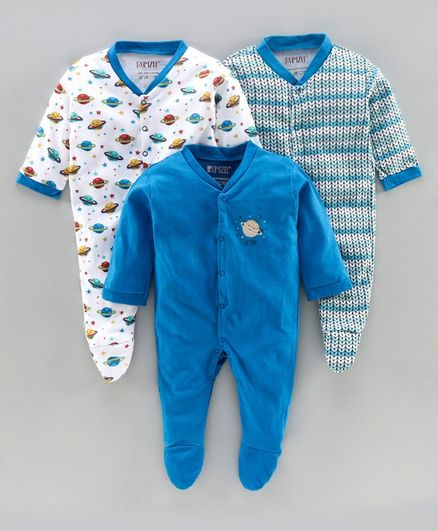 Bumzee Pack Of 3 Full Sleeves Saturn Print Sleepsuit  - Dark Blue