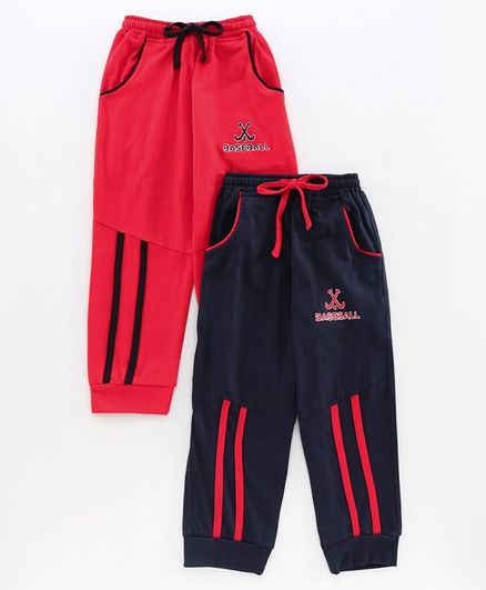 Nottie Planet Pack Of 2  Baseball Embroidery Full Length Track Pants - Navy Blue Red
