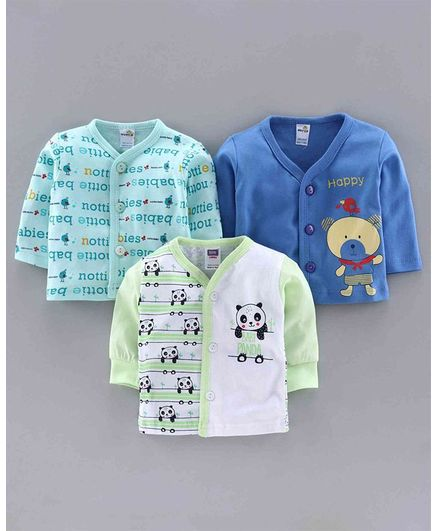 Nottie Planet Pack Of 3 Full Sleeves Teddy Bear Print Vests - Blue Green