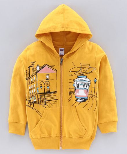 Nottie Planet Full Sleeves Train Print Knit Light Jacket -Mustard