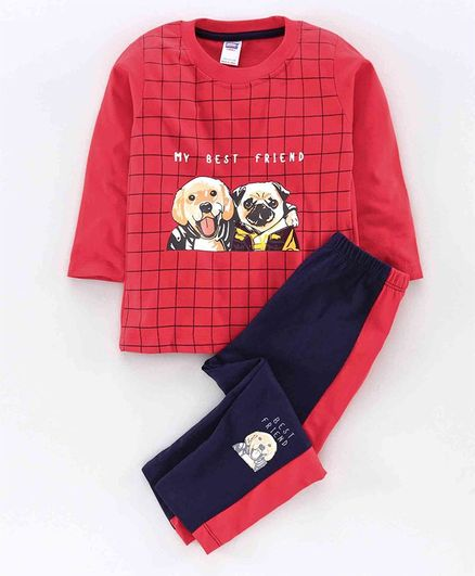 Nottie Planet Full Sleeves Dog Print T-Shirt With Pant -Red