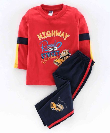Nottie Planet Full Sleeves Highway Road Street Print T-Shirt With Pant - Red