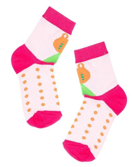 TMW Kids Dotted Pattern Ankle Length Soft Cotton Socks - Pink
