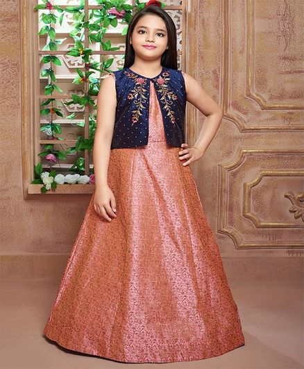 Betty By Tiny Kingdom Sleeveless Brocade Gown With Jacket - Peach