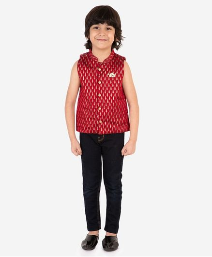 Lil Peacock Sleeveless Chanderi Gold Print Jacket - Maroon