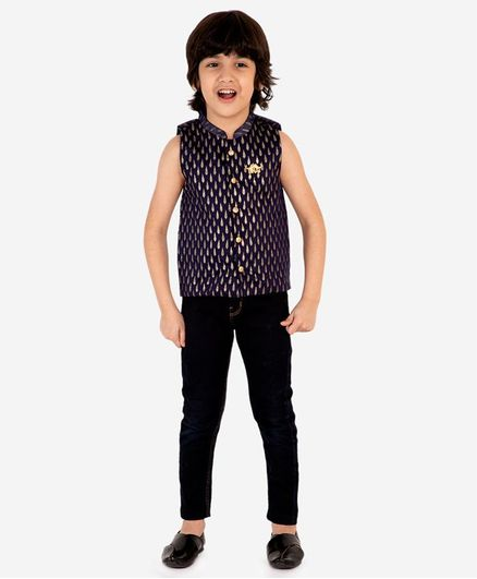 Lil Peacock Sleeveless Chanderi Gold Print Jacket - Blue