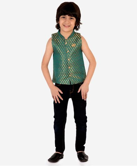 Lil Peacock Sleeveless Leaf Brocade Jacket - Green