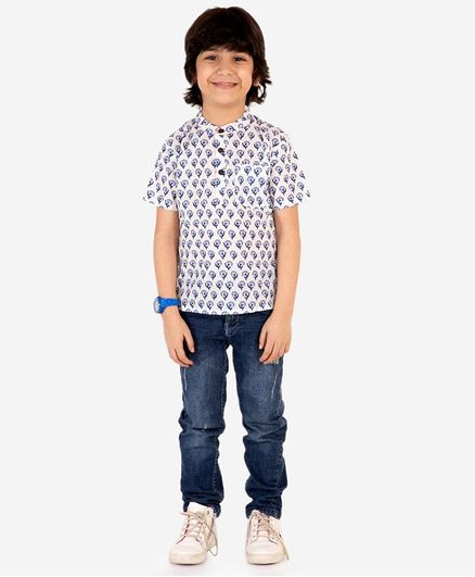 Lil Peacock Half Sleeves Flower Motif Printed Kurta - Blue
