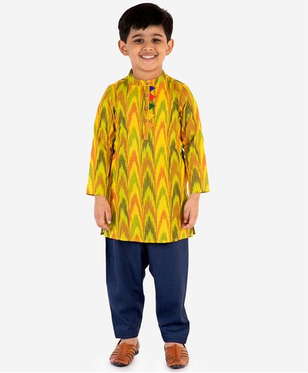 Lil Peacock Full Sleeves Ikat Kurta With Pyjama Set - Yellow