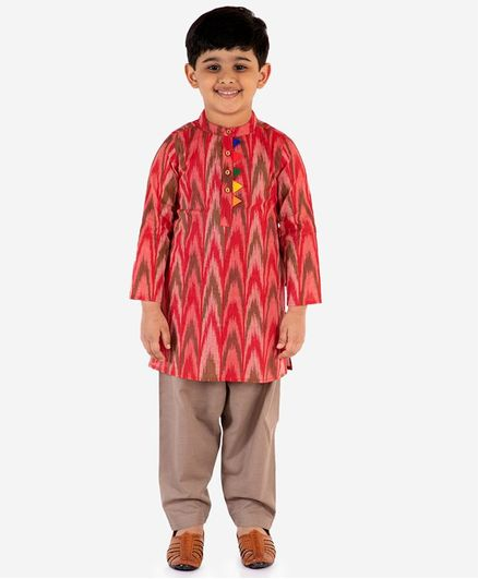 Lil Peacock Full Sleeves Ikat Kurta With Pyjama Set - Red
