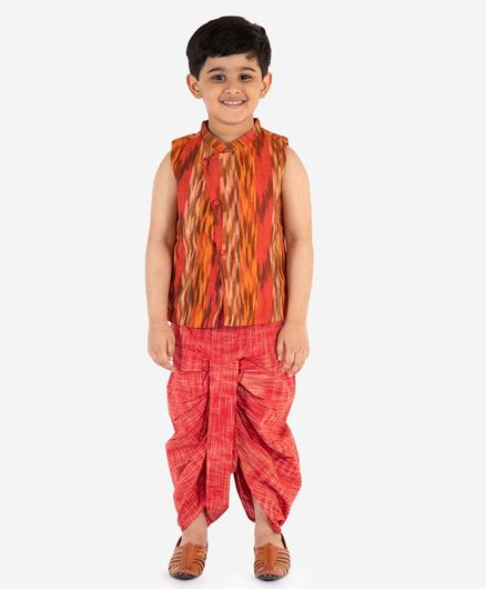 Lil Peacock Sleeveless Printed Jacket With Dhoti - Orange