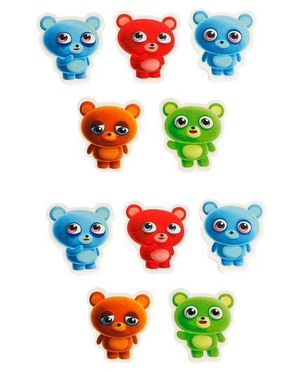 Passion Petals Teddy Shaped Erasers Pack of 12 - Multicolor