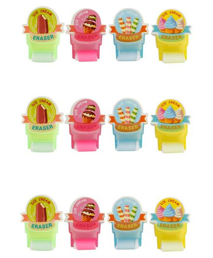 Passion Petals Erasers Ice Cream Print Pack of 12 - Multicolor