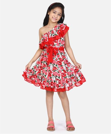 Lilpicks Couture Short Sleeves Floral Print One Shoulder Dress - Red