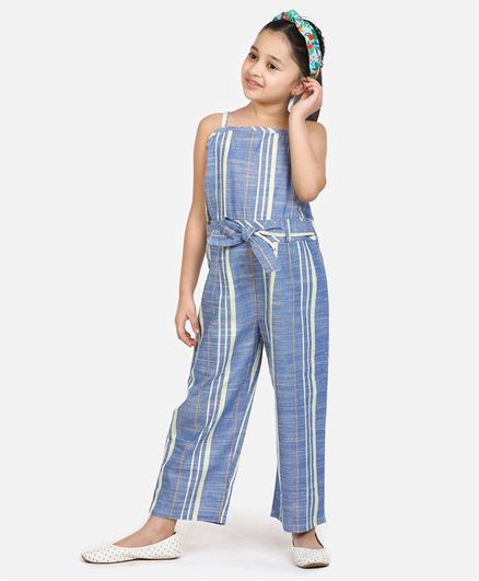 Lilpicks Couture Sleeveless Striped Jumpsuit - Blue
