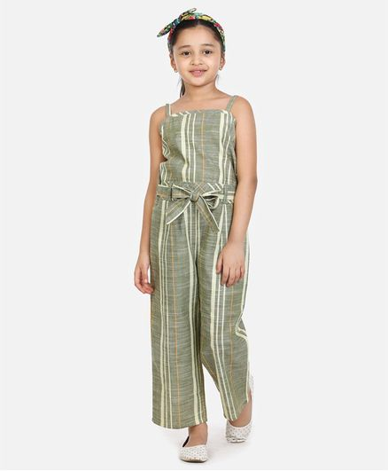 Lilpicks Couture Sleeveless Striped Jumpsuit - Green