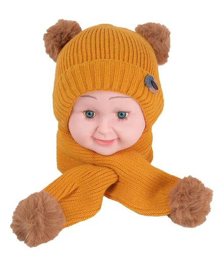 Yellow Bee Pom Pom Detailing Cap & Scarf Set - Yellow