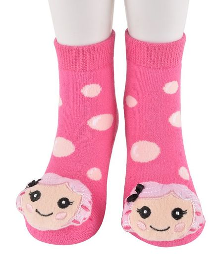 Yellow Bee Polka Dot Printed Girl Detailing Socks - Pink