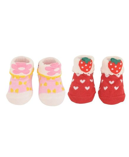 Yellow Bee Pack Of 2 Pair Of Flower & Strawberry Design Socks - Pink & Red