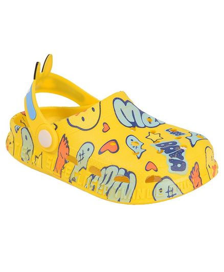 Yellow Bee Duck & Text Print Clogs - Yellow