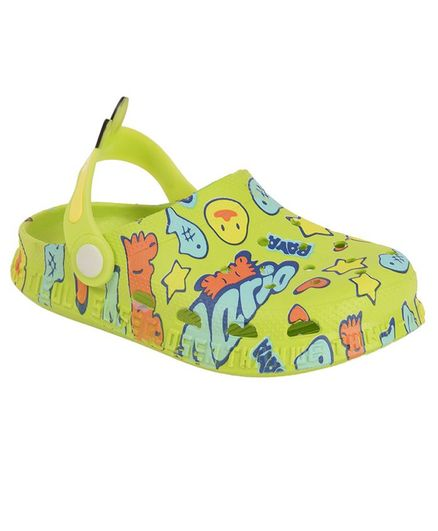 Yellow Bee Duck & Text Print Clogs - Green