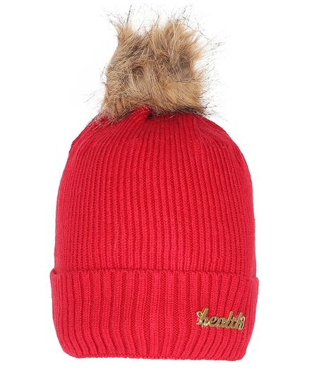 Tiekart Fur Cluster Design Warm Baby Cap - Red