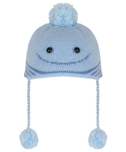 Tiekart Pom Pom & Smile Design Warm Baby Cap - Blue