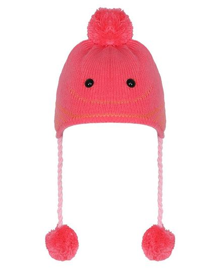Tiekart Pom Pom & Smile Design Warm Baby Cap - Orange