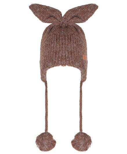 Tiekart Bunny Ear Applique Pom Pom Detailing Cap - Brown