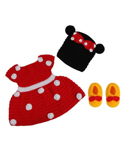 Tiekart Knits Short Sleeves Polka Dotted Dress With Cap & Booties - Red