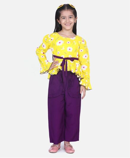 Cutiekins Full Sleeves Floral Print High Low Style Top & Palazzo Set  - Yellow & Purple