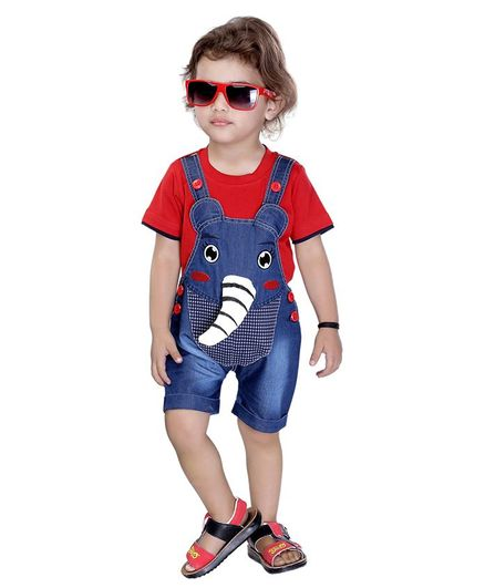 Kooka Kids Half Sleeves Elephant Patch Inner T-Shirt With Dungaree - Red