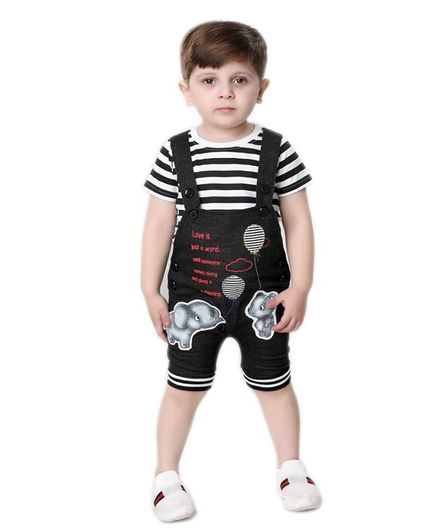Kooka Kids Half Sleeves Striped Inner T-Shirt With Dungaree  - Black