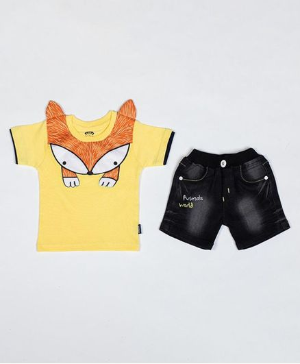 Kooka Kids Half Sleeves Fox Theme Tee With Shorts - Yellow