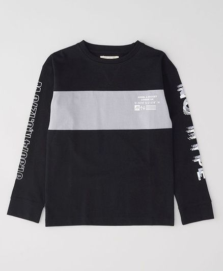 Angel & Rocket Full Sleeves Colour Block Pattern Tee - Black