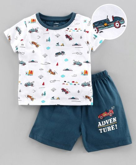 Cucumber Half Sleeves T-Shirt & Shorts Car Print - Blue White