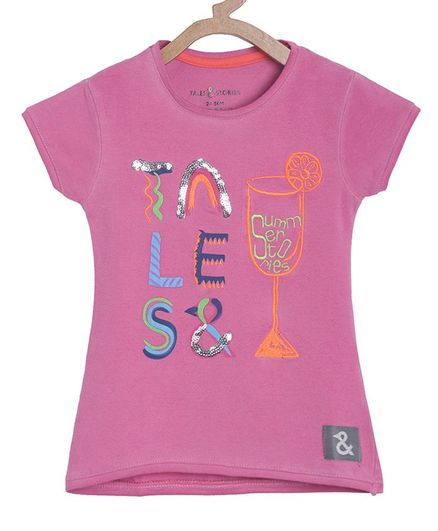 Tales & Stories Short Sleeves Brand Name Printed Top - Pink