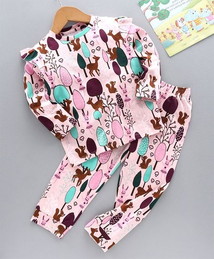 Ventra Full Sleeves Forest Print Night Suit - Pink