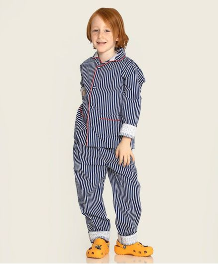 Cherry Crumble by Nitt Hyman Full Sleeves Striped Night Suit - Blue