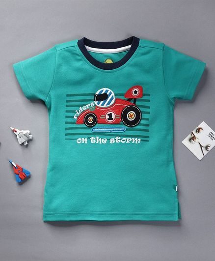 Pranava Organic Cotton Half Sleeves Racing Car Patch T-Shirt - Mint Green