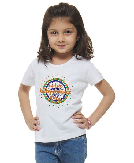 M'andy Half Sleeves India Independence Day Wheel Print Tee - White