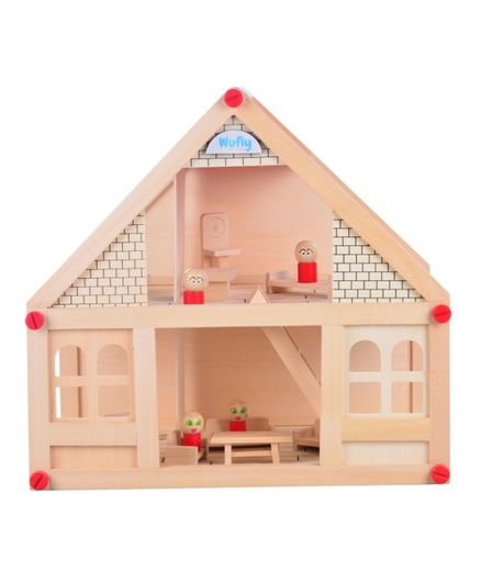 Wufiy Wooden Doll House Set - Light Brown