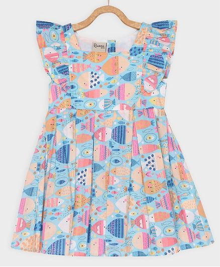 Rianna Cap Sleeves Abstract Fish Print Dress - Blue