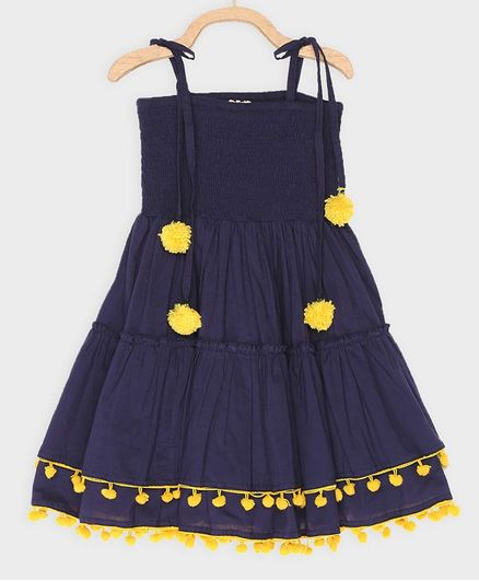 Rianna Sleeveless Tassel Detailed Smocked Yoke Dress - Dark Blue
