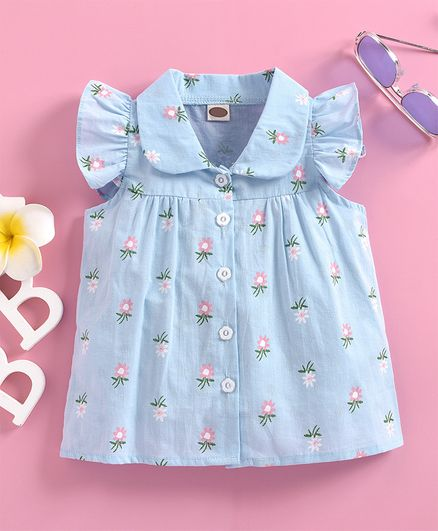 Kookie Kids Sleeveless Shirt Floral Print - Blue