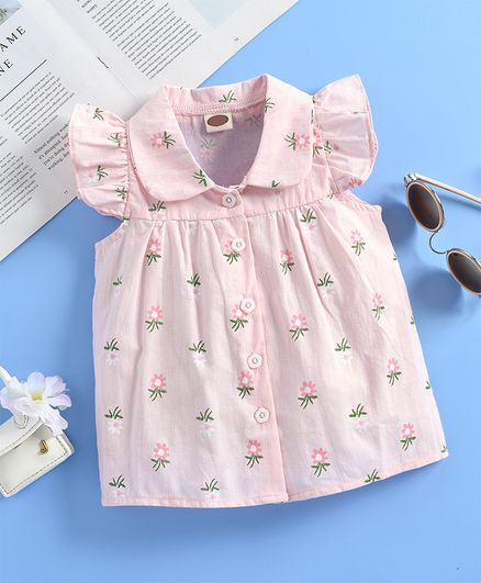 Kookie Kids Sleeveless Shirt Floral Print - Pink