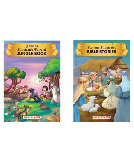 Maple Press Famous Illustrated Tales of Bible and Jungle Book Set of 2 - English