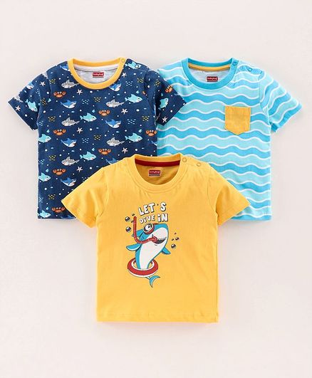 Babyhug Half Sleeves Printed Biowashed Tee Pack of 3 - Yellow Blue