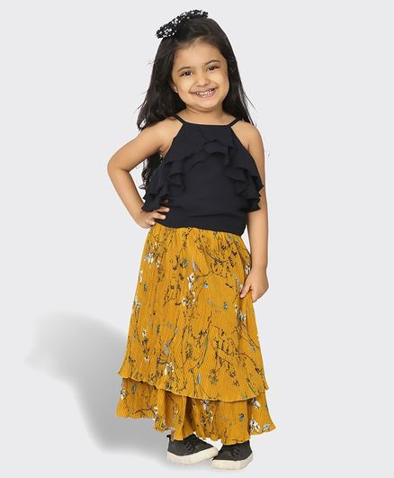 Tic Tac Toe Sleeveless Ruffled Top With Printed Skirt Set - Blue & Mustard